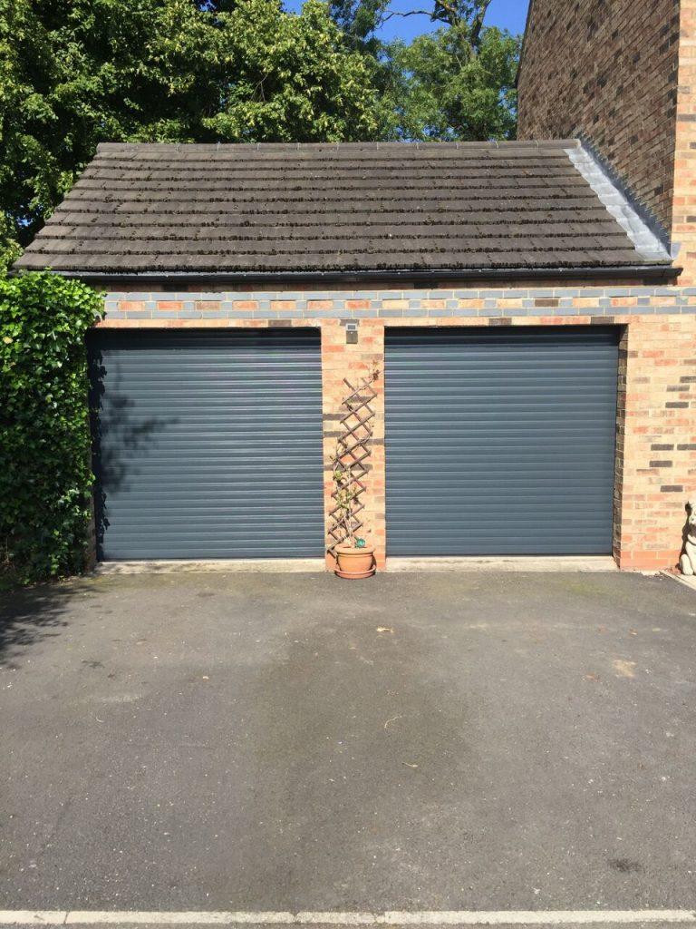 anthracite grey double garage door installation whitburn south tyneside