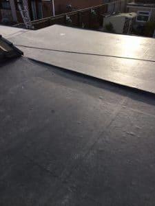 black felt roof installation
