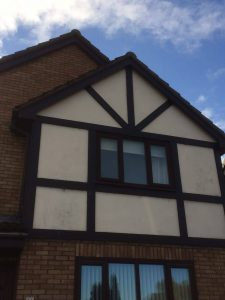 new rosewood fascia and guttering and replacement tudor boards ashington