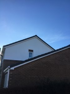 Roofline Replacement of White Square Guttering and Fasica with Black Dry Verge Caps in Leyburn North Yorkshire